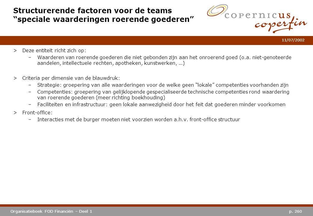 """p. 260Organisatieboek FOD Financiën – Deel 1 11/07/2002 Structurerende factoren voor de teams """"speciale waarderingen roerende goederen"""" >Deze entiteit"""