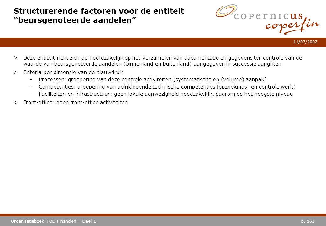 """p. 261Organisatieboek FOD Financiën – Deel 1 11/07/2002 Structurerende factoren voor de entiteit """"beursgenoteerde aandelen"""" >Deze entiteit richt zich"""