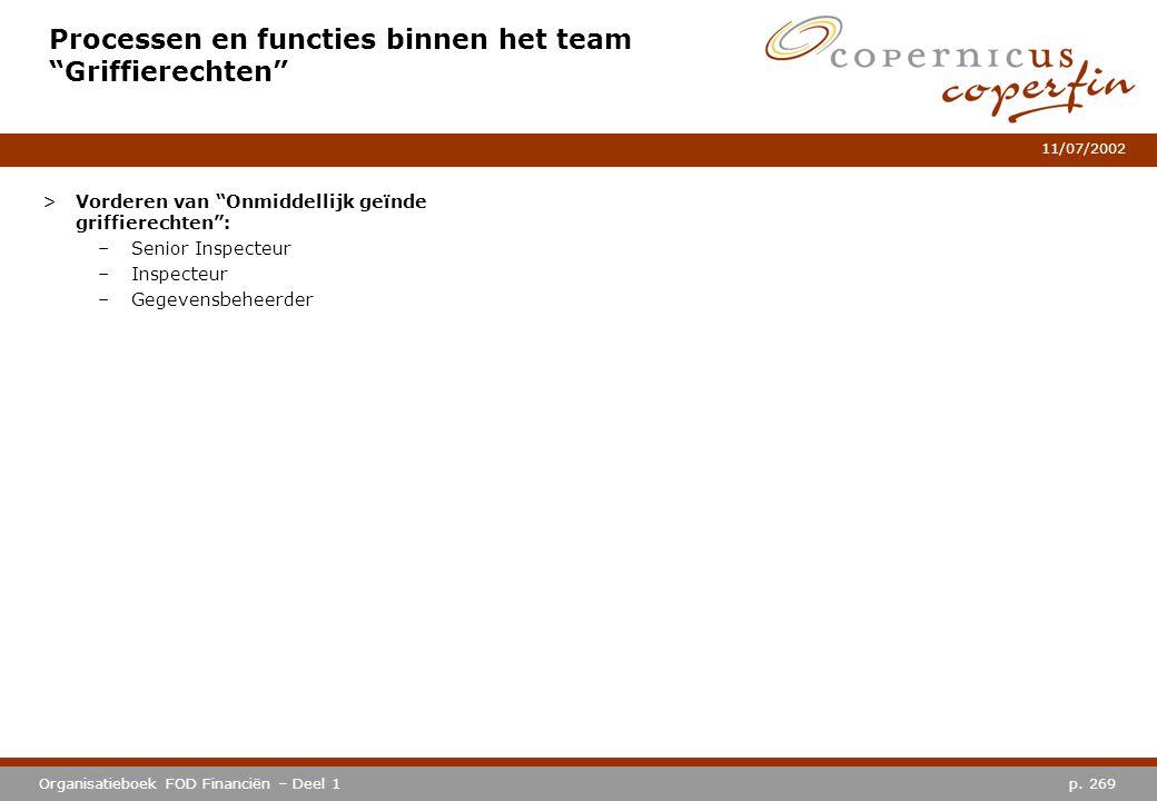 """p. 269Organisatieboek FOD Financiën – Deel 1 11/07/2002 Processen en functies binnen het team """"Griffierechten"""" >Vorderen van """"Onmiddellijk geïnde grif"""