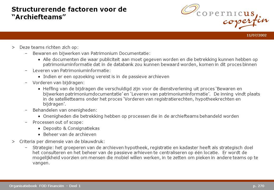 """p. 270Organisatieboek FOD Financiën – Deel 1 11/07/2002 Structurerende factoren voor de """"Archiefteams"""" >Deze teams richten zich op: –Bewaren en bijwer"""