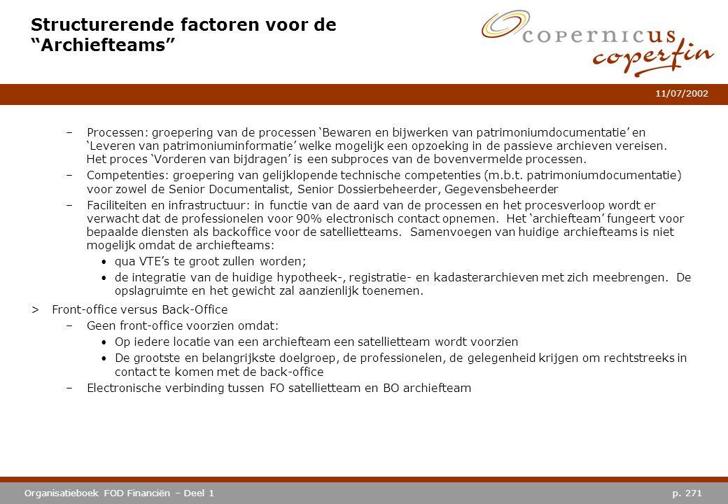 """p. 271Organisatieboek FOD Financiën – Deel 1 11/07/2002 Structurerende factoren voor de """"Archiefteams"""" –Processen: groepering van de processen 'Beware"""