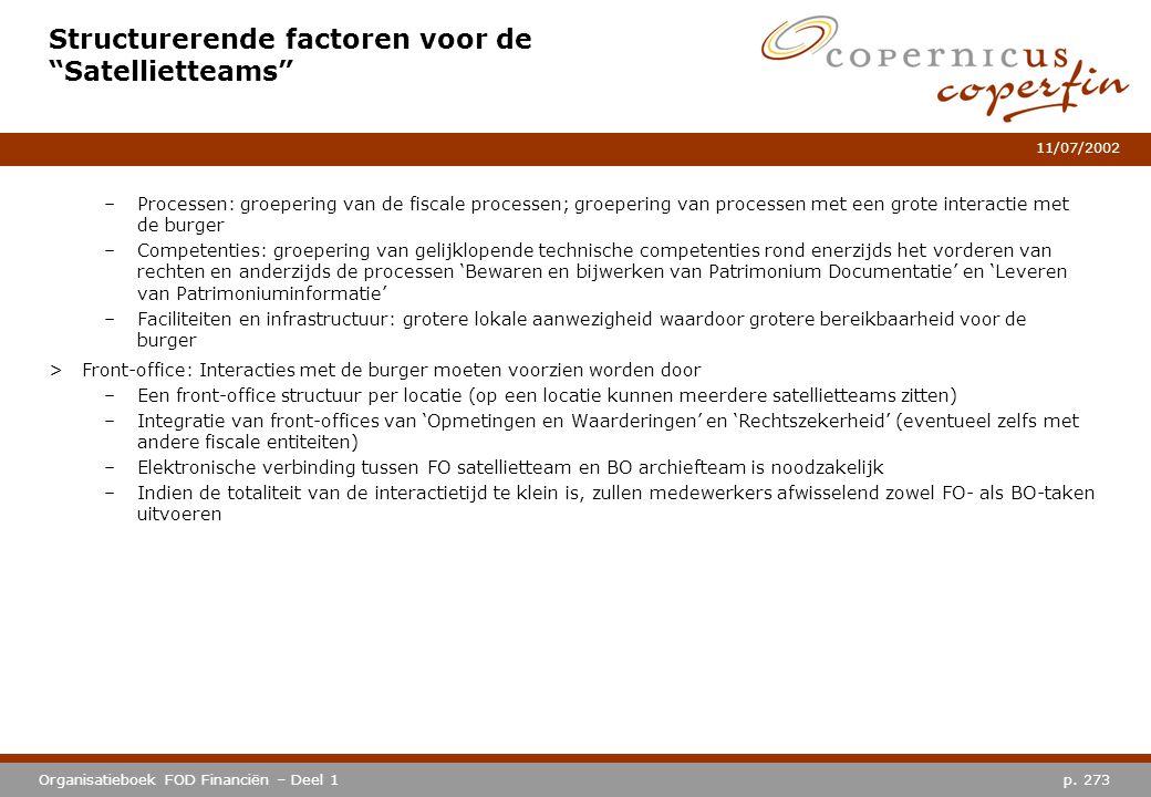 """p. 273Organisatieboek FOD Financiën – Deel 1 11/07/2002 Structurerende factoren voor de """"Satellietteams"""" –Processen: groepering van de fiscale process"""