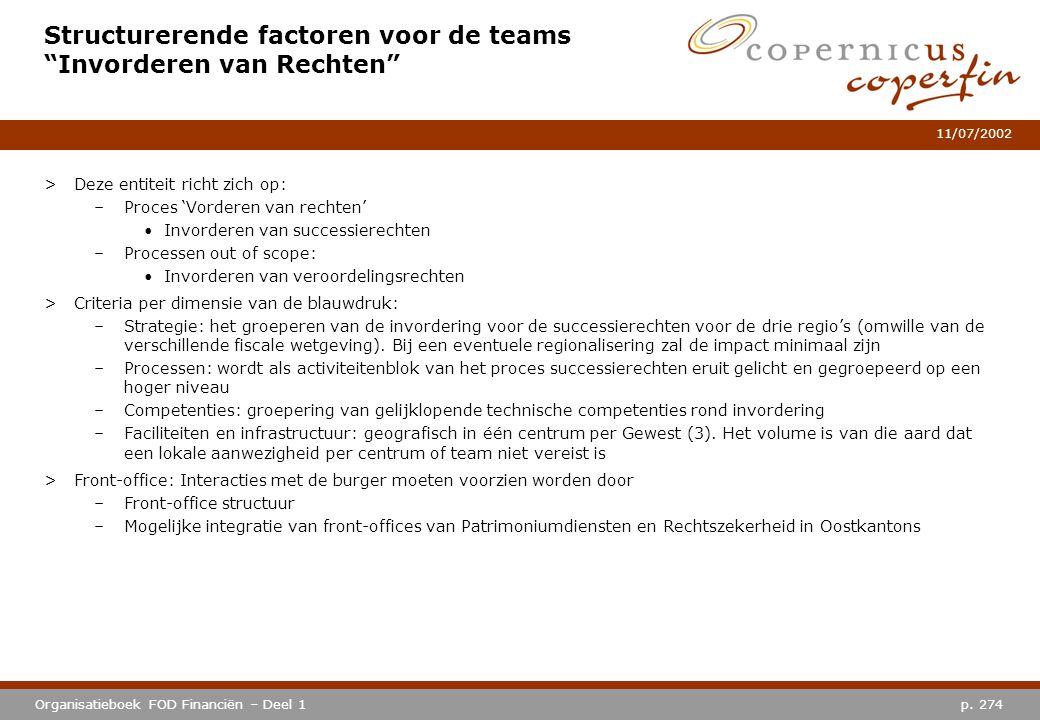 """p. 274Organisatieboek FOD Financiën – Deel 1 11/07/2002 Structurerende factoren voor de teams """"Invorderen van Rechten"""" >Deze entiteit richt zich op: –"""