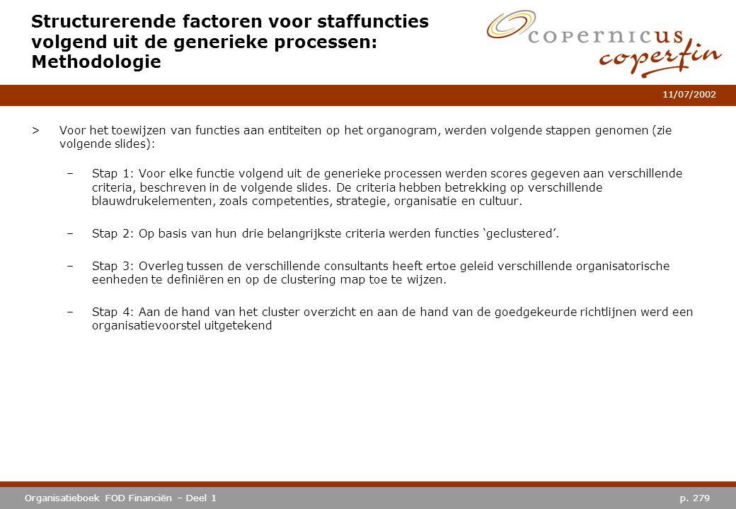 p. 279Organisatieboek FOD Financiën – Deel 1 11/07/2002 Structurerende factoren voor staffuncties volgend uit de generieke processen: Methodologie >Vo