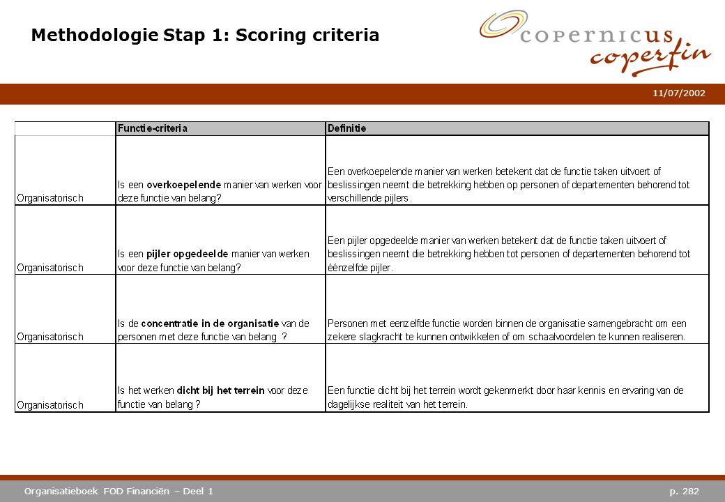 p. 282Organisatieboek FOD Financiën – Deel 1 11/07/2002 Methodologie Stap 1: Scoring criteria