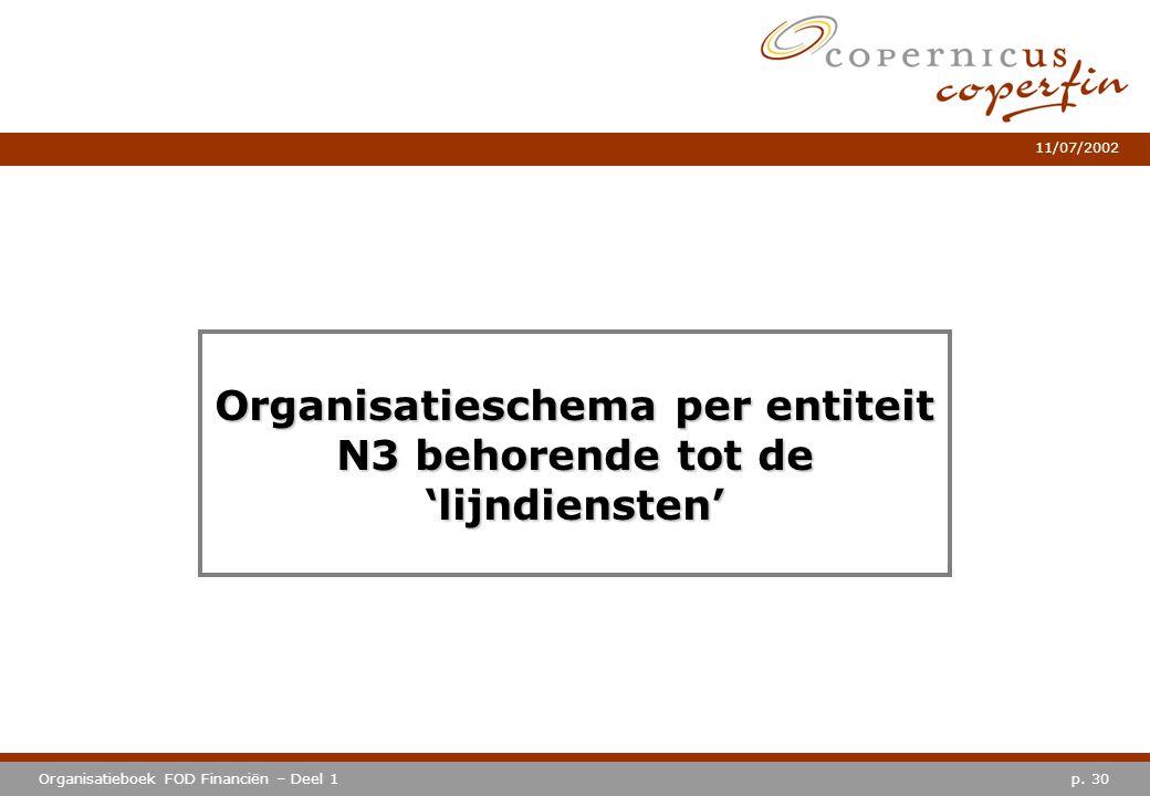 p. 30Organisatieboek FOD Financiën – Deel 1 11/07/2002 Organisatieschema per entiteit N3 behorende tot de 'lijndiensten'
