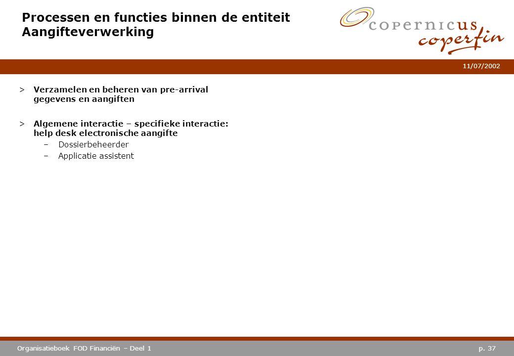 p. 37Organisatieboek FOD Financiën – Deel 1 11/07/2002 Processen en functies binnen de entiteit Aangifteverwerking >Verzamelen en beheren van pre-arri