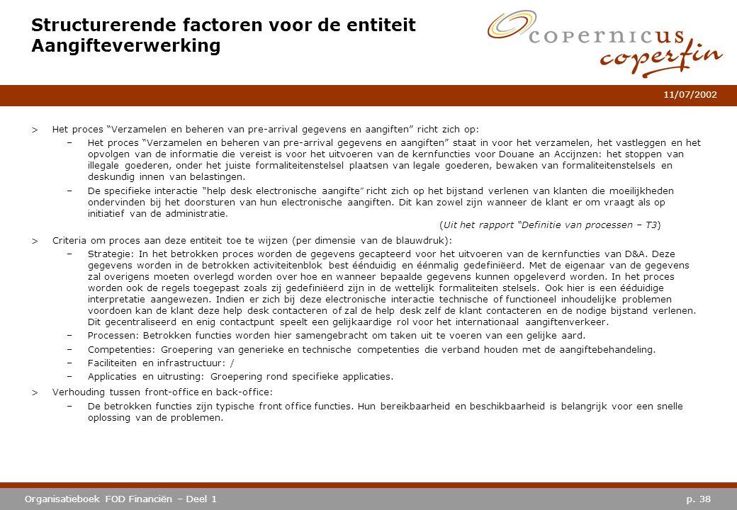 """p. 38Organisatieboek FOD Financiën – Deel 1 11/07/2002 Structurerende factoren voor de entiteit Aangifteverwerking >Het proces """"Verzamelen en beheren"""