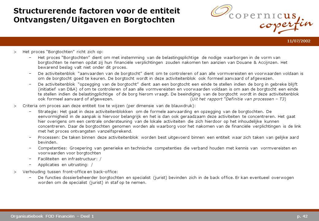 """p. 42Organisatieboek FOD Financiën – Deel 1 11/07/2002 Structurerende factoren voor de entiteit Ontvangsten/Uitgaven en Borgtochten >Het proces """"Borgt"""