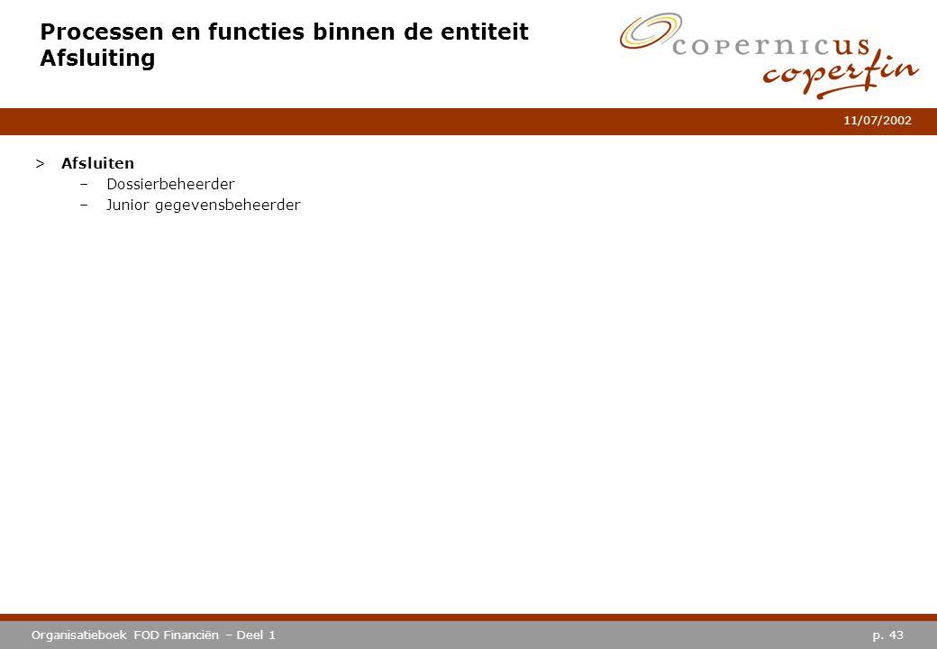 p. 43Organisatieboek FOD Financiën – Deel 1 11/07/2002 Processen en functies binnen de entiteit Afsluiting >Afsluiten –Dossierbeheerder –Junior gegeve