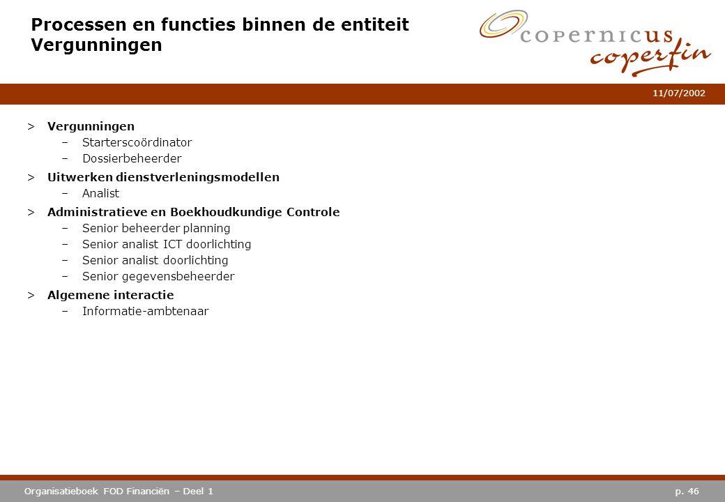 p. 46Organisatieboek FOD Financiën – Deel 1 11/07/2002 Processen en functies binnen de entiteit Vergunningen >Vergunningen –Starterscoördinator –Dossi
