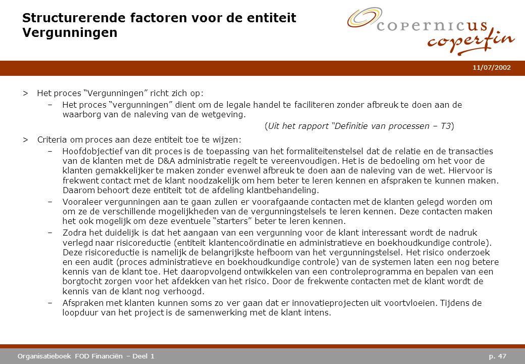 """p. 47Organisatieboek FOD Financiën – Deel 1 11/07/2002 Structurerende factoren voor de entiteit Vergunningen >Het proces """"Vergunningen"""" richt zich op:"""