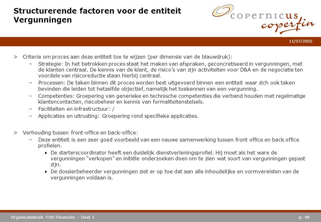 p. 48Organisatieboek FOD Financiën – Deel 1 11/07/2002 Structurerende factoren voor de entiteit Vergunningen >Criteria om proces aan deze entiteit toe