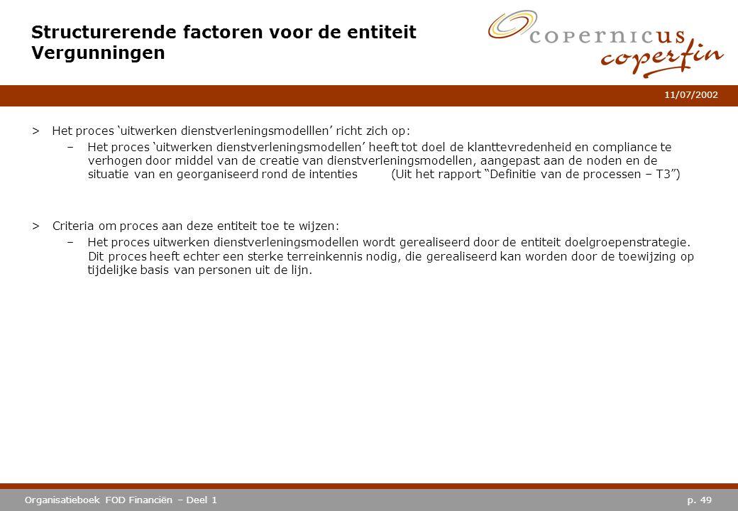 p. 49Organisatieboek FOD Financiën – Deel 1 11/07/2002 >Het proces 'uitwerken dienstverleningsmodelllen' richt zich op: –Het proces 'uitwerken dienstv