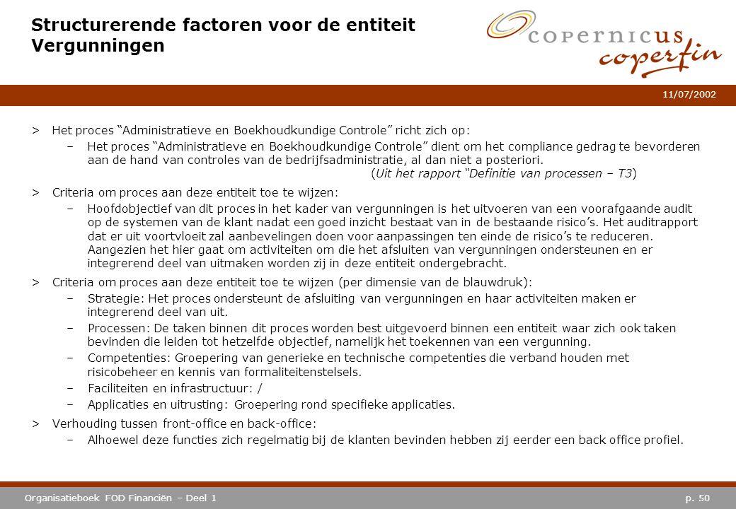 """p. 50Organisatieboek FOD Financiën – Deel 1 11/07/2002 Structurerende factoren voor de entiteit Vergunningen >Het proces """"Administratieve en Boekhoudk"""