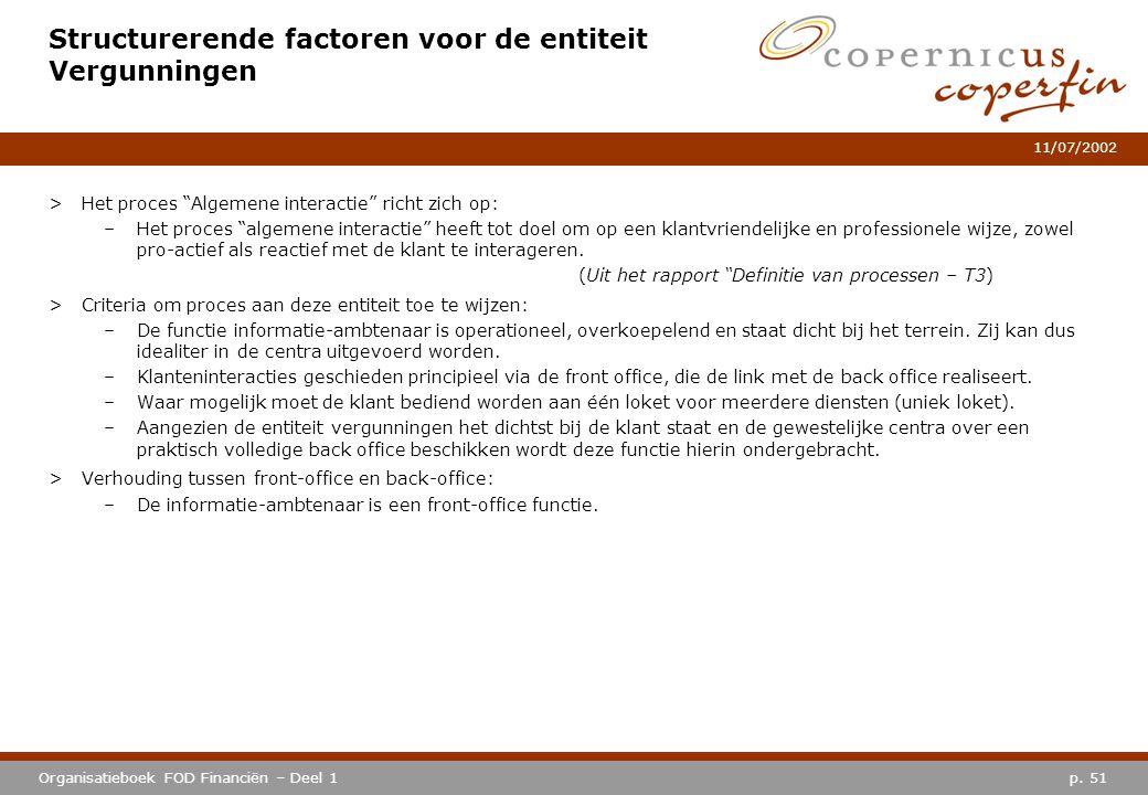 """p. 51Organisatieboek FOD Financiën – Deel 1 11/07/2002 Structurerende factoren voor de entiteit Vergunningen >Het proces """"Algemene interactie"""" richt z"""