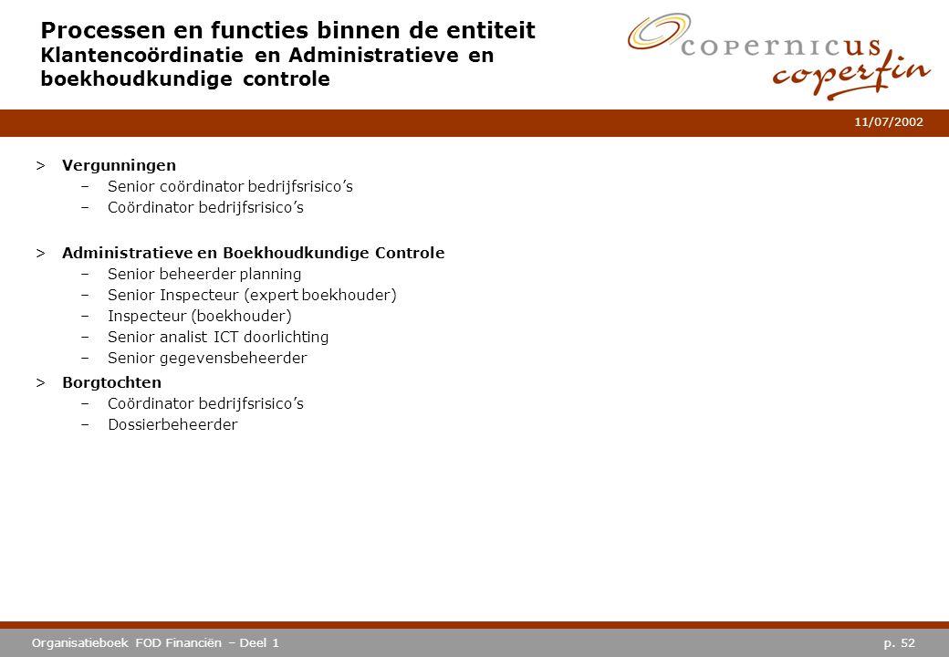 p. 52Organisatieboek FOD Financiën – Deel 1 11/07/2002 Processen en functies binnen de entiteit Klantencoördinatie en Administratieve en boekhoudkundi