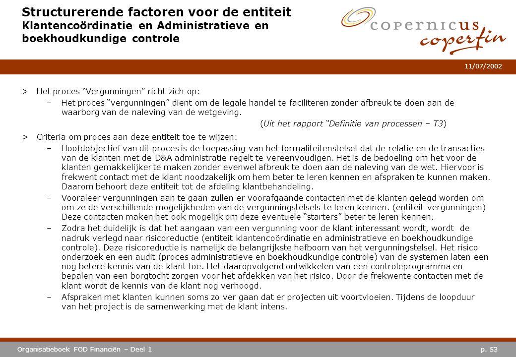 p. 53Organisatieboek FOD Financiën – Deel 1 11/07/2002 Structurerende factoren voor de entiteit Klantencoördinatie en Administratieve en boekhoudkundi