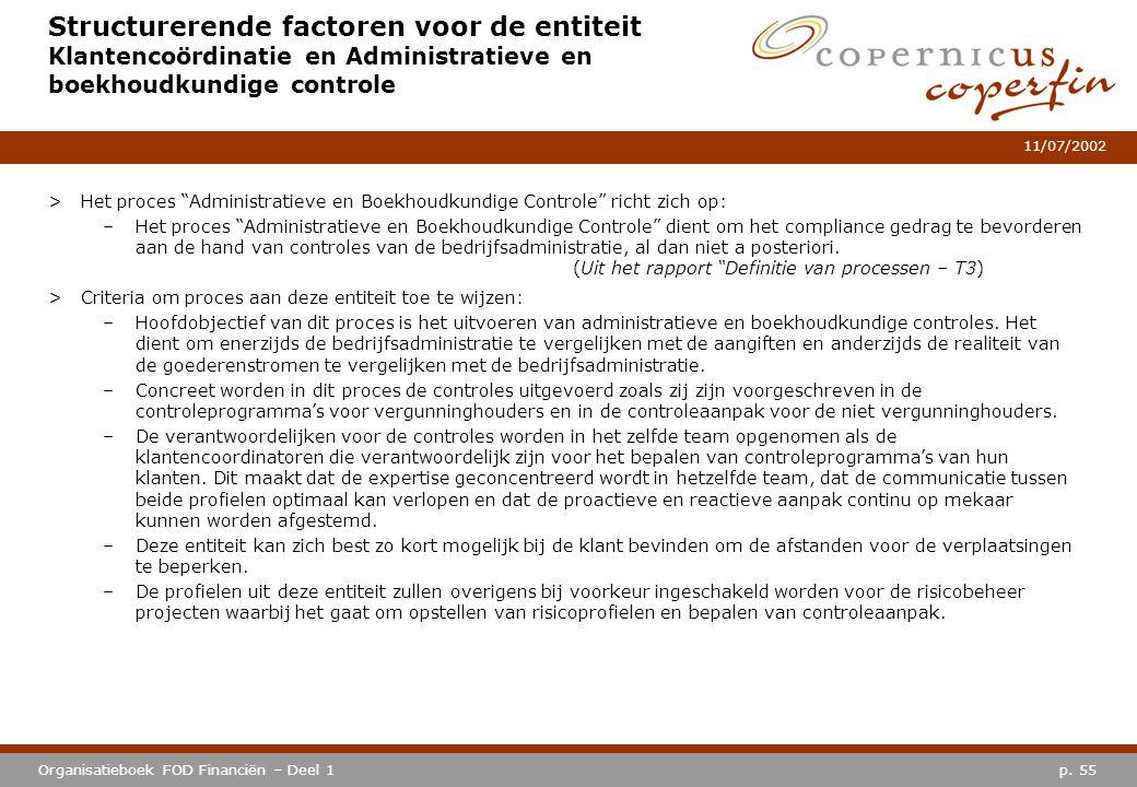 p. 55Organisatieboek FOD Financiën – Deel 1 11/07/2002 Structurerende factoren voor de entiteit Klantencoördinatie en Administratieve en boekhoudkundi