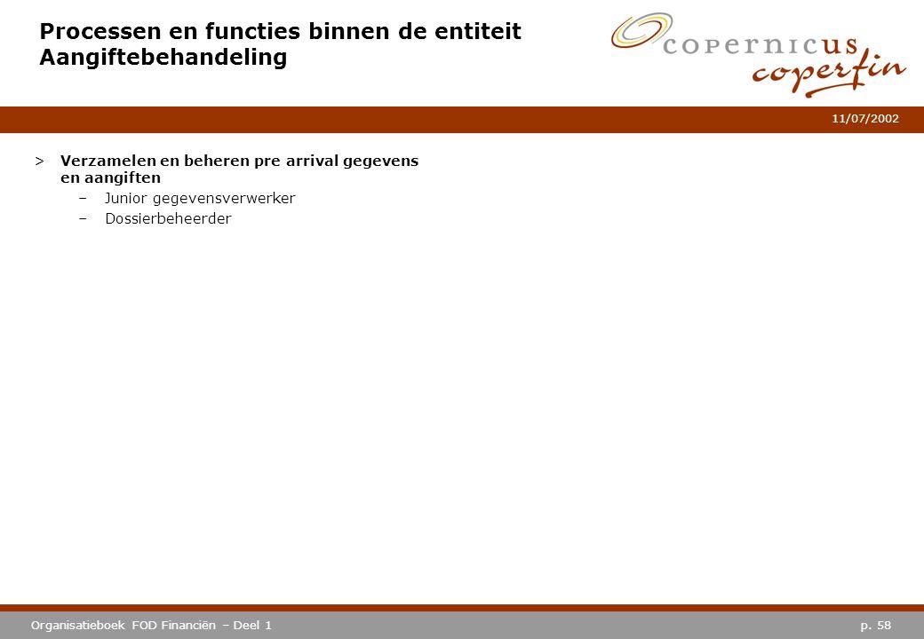 p. 58Organisatieboek FOD Financiën – Deel 1 11/07/2002 Processen en functies binnen de entiteit Aangiftebehandeling >Verzamelen en beheren pre arrival