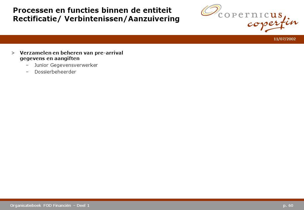 p. 60Organisatieboek FOD Financiën – Deel 1 11/07/2002 Processen en functies binnen de entiteit Rectificatie/ Verbintenissen/Aanzuivering >Verzamelen