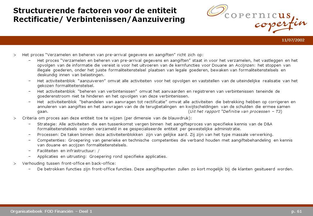 p. 61Organisatieboek FOD Financiën – Deel 1 11/07/2002 Structurerende factoren voor de entiteit Rectificatie/ Verbintenissen/Aanzuivering >Het proces