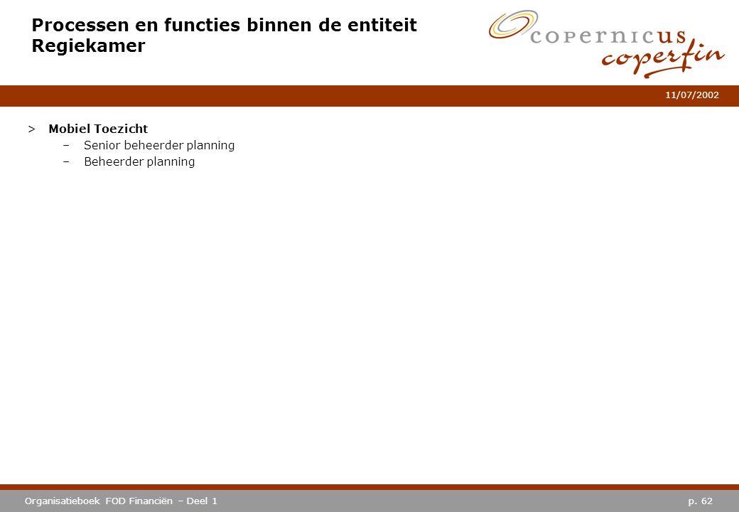 p. 62Organisatieboek FOD Financiën – Deel 1 11/07/2002 Processen en functies binnen de entiteit Regiekamer >Mobiel Toezicht –Senior beheerder planning