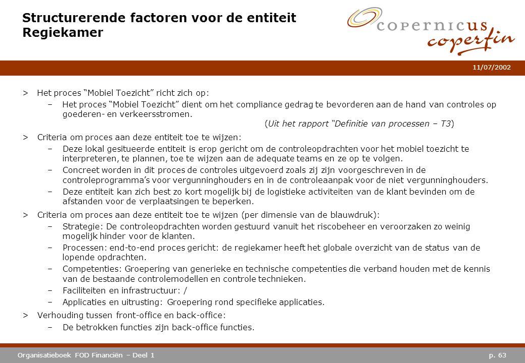"""p. 63Organisatieboek FOD Financiën – Deel 1 11/07/2002 Structurerende factoren voor de entiteit Regiekamer >Het proces """"Mobiel Toezicht"""" richt zich op"""