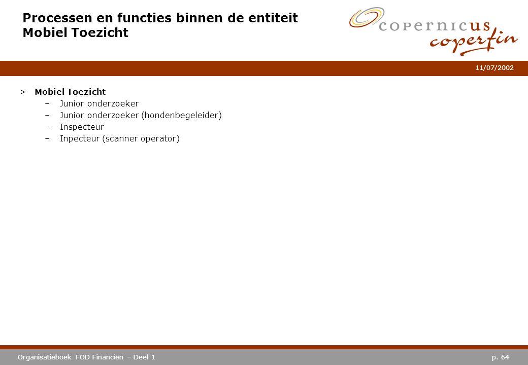p. 64Organisatieboek FOD Financiën – Deel 1 11/07/2002 Processen en functies binnen de entiteit Mobiel Toezicht >Mobiel Toezicht –Junior onderzoeker –