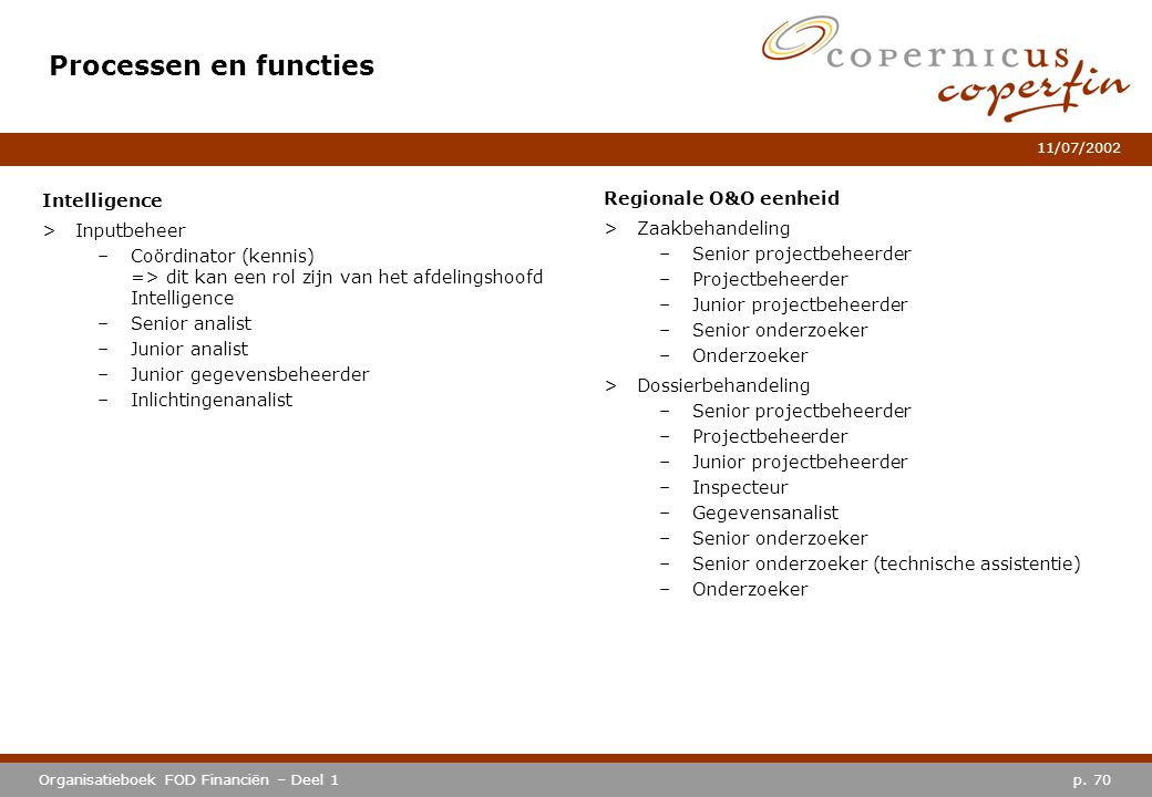 p. 70Organisatieboek FOD Financiën – Deel 1 11/07/2002 Processen en functies Intelligence >Inputbeheer –Coördinator (kennis) => dit kan een rol zijn v
