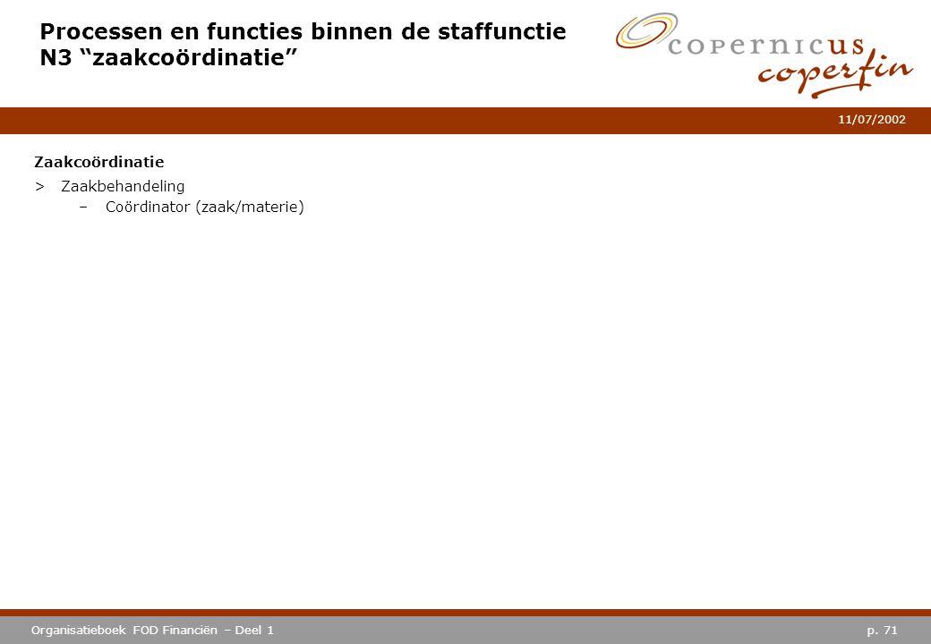 """p. 71Organisatieboek FOD Financiën – Deel 1 11/07/2002 Processen en functies binnen de staffunctie N3 """"zaakcoördinatie"""" Zaakcoördinatie >Zaakbehandeli"""