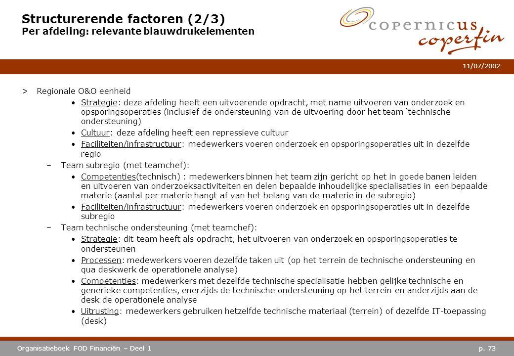 p. 73Organisatieboek FOD Financiën – Deel 1 11/07/2002 Structurerende factoren (2/3) Per afdeling: relevante blauwdrukelementen >Regionale O&O eenheid