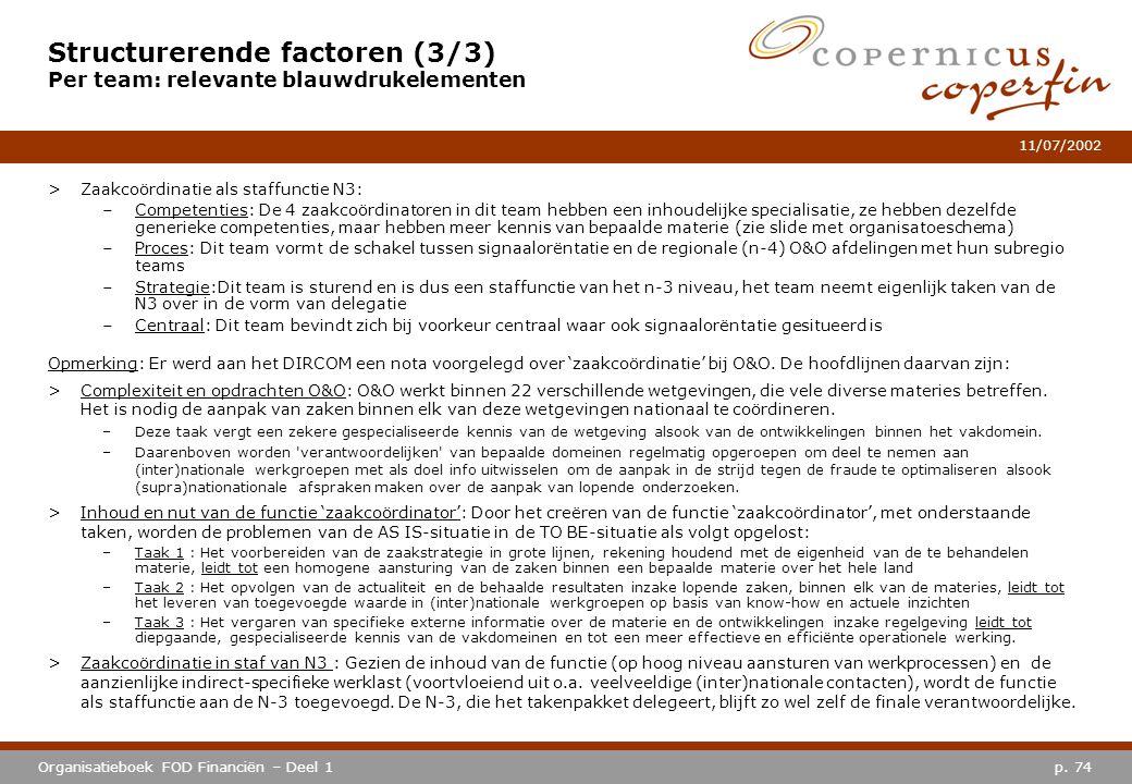 p. 74Organisatieboek FOD Financiën – Deel 1 11/07/2002 Structurerende factoren (3/3) Per team: relevante blauwdrukelementen >Zaakcoördinatie als staff