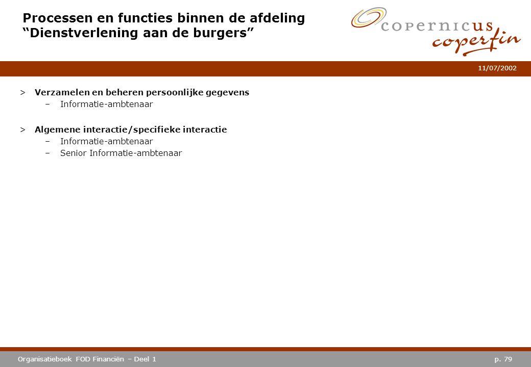 """p. 79Organisatieboek FOD Financiën – Deel 1 11/07/2002 Processen en functies binnen de afdeling """"Dienstverlening aan de burgers"""" >Verzamelen en behere"""