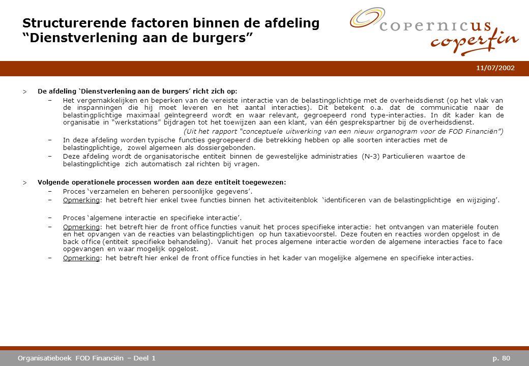 p. 80Organisatieboek FOD Financiën – Deel 1 11/07/2002 >De afdeling 'Dienstverlening aan de burgers' richt zich op: –Het vergemakkelijken en beperken