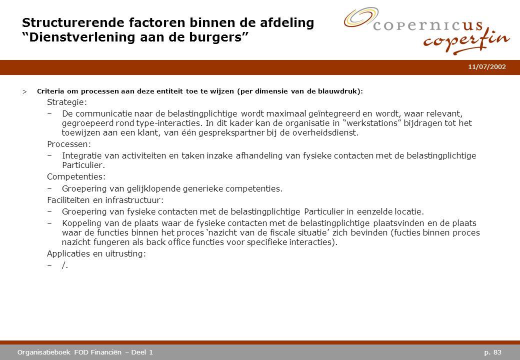 p. 83Organisatieboek FOD Financiën – Deel 1 11/07/2002 >Criteria om processen aan deze entiteit toe te wijzen (per dimensie van de blauwdruk): Strateg