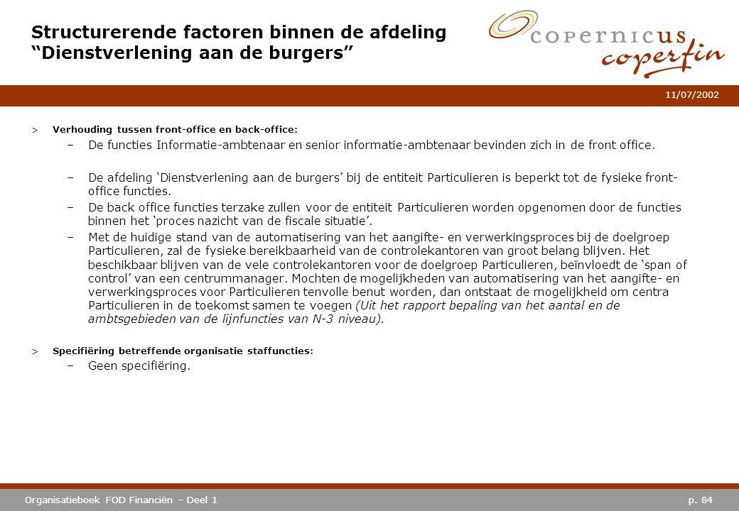 p. 84Organisatieboek FOD Financiën – Deel 1 11/07/2002 >Verhouding tussen front-office en back-office: –De functies Informatie-ambtenaar en senior inf