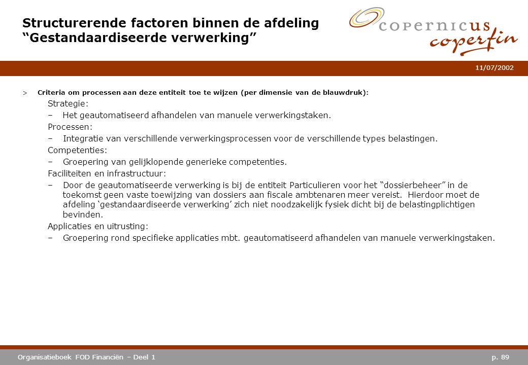 p. 89Organisatieboek FOD Financiën – Deel 1 11/07/2002 >Criteria om processen aan deze entiteit toe te wijzen (per dimensie van de blauwdruk): Strateg