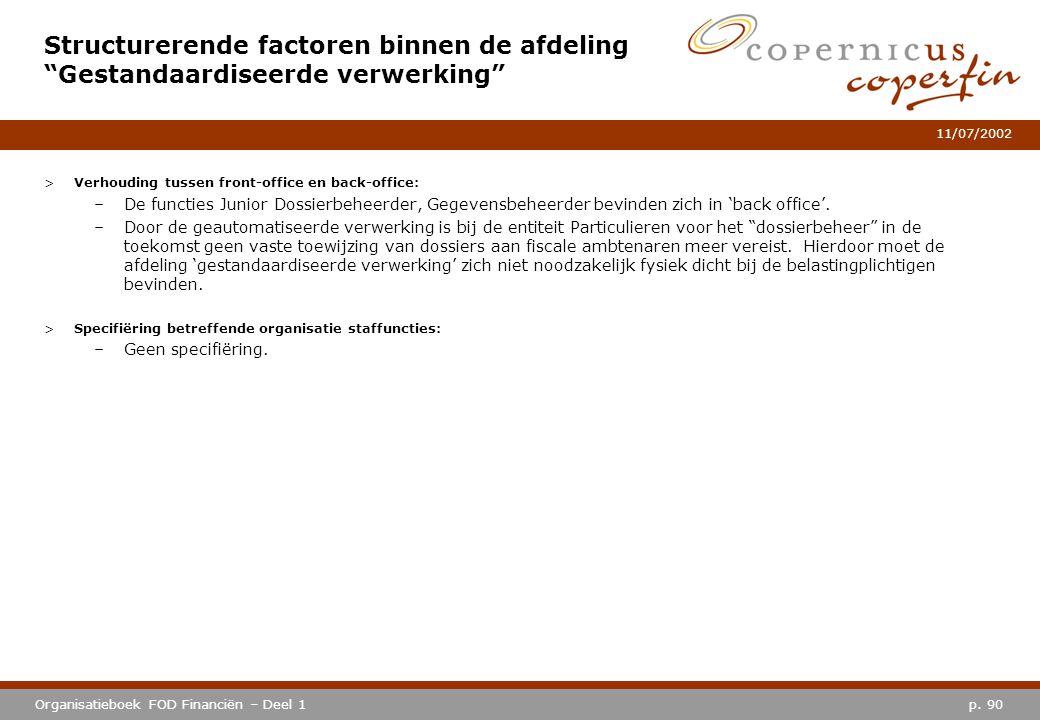 p. 90Organisatieboek FOD Financiën – Deel 1 11/07/2002 >Verhouding tussen front-office en back-office: –De functies Junior Dossierbeheerder, Gegevensb