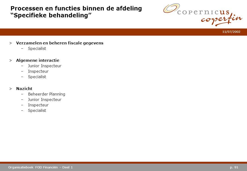 """p. 91Organisatieboek FOD Financiën – Deel 1 11/07/2002 Processen en functies binnen de afdeling """"Specifieke behandeling"""" >Verzamelen en beheren fiscal"""
