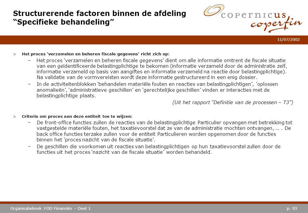 p. 93Organisatieboek FOD Financiën – Deel 1 11/07/2002 >Het proces 'verzamelen en beheren fiscale gegevens' richt zich op: –Het proces 'verzamelen en