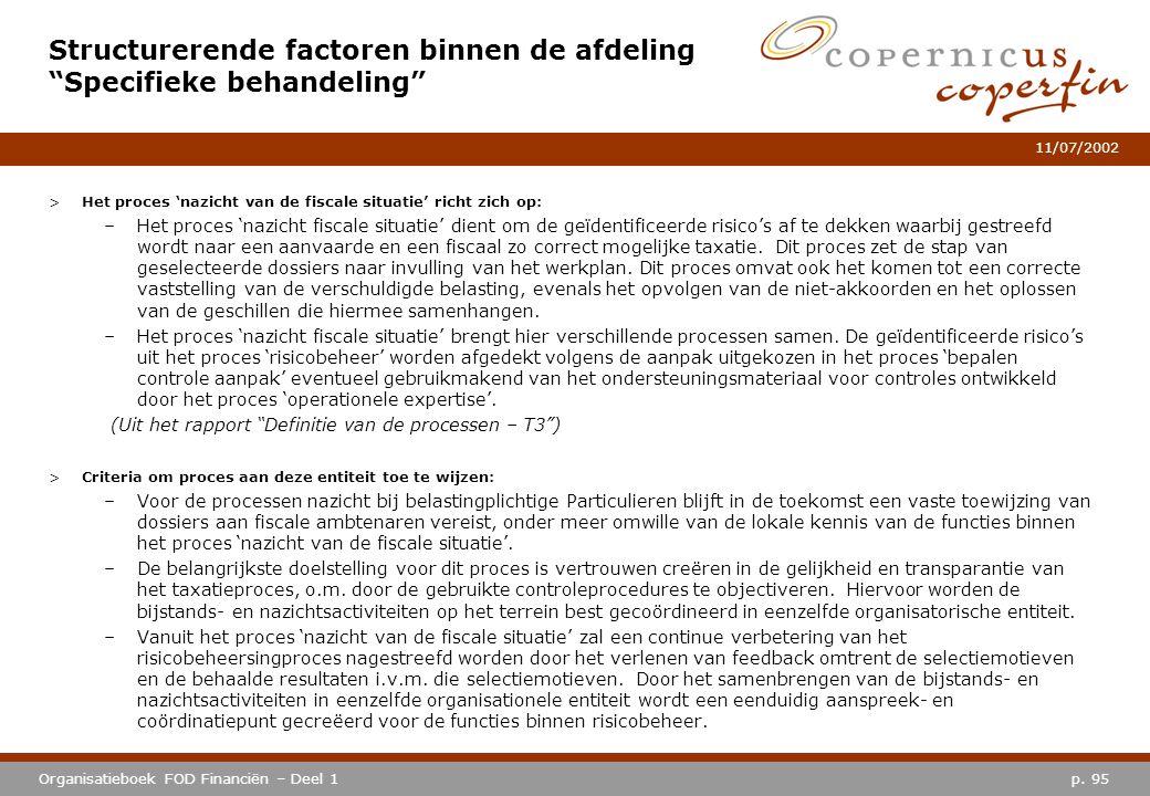 p. 95Organisatieboek FOD Financiën – Deel 1 11/07/2002 >Het proces 'nazicht van de fiscale situatie' richt zich op: –Het proces 'nazicht fiscale situa