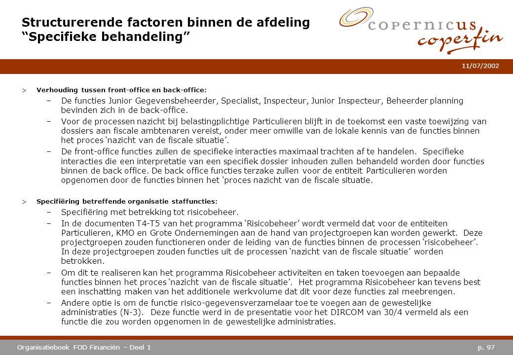 p. 97Organisatieboek FOD Financiën – Deel 1 11/07/2002 >Verhouding tussen front-office en back-office: –De functies Junior Gegevensbeheerder, Speciali