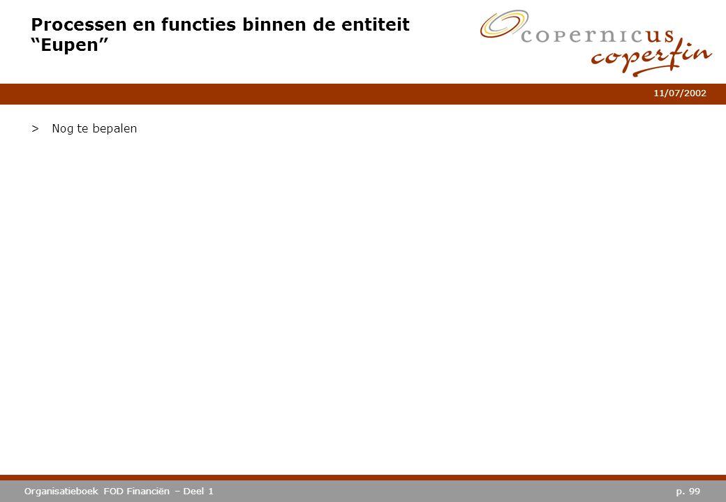 """p. 99Organisatieboek FOD Financiën – Deel 1 11/07/2002 Processen en functies binnen de entiteit """"Eupen"""" >Nog te bepalen"""