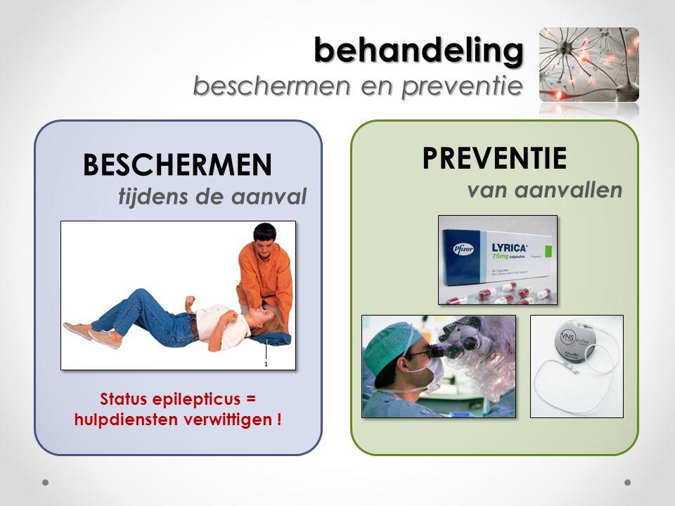 behandeling beschermen en preventie PREVENTIE van aanvallen BESCHERMEN tijdens de aanval Status epilepticus = hulpdiensten verwittigen !