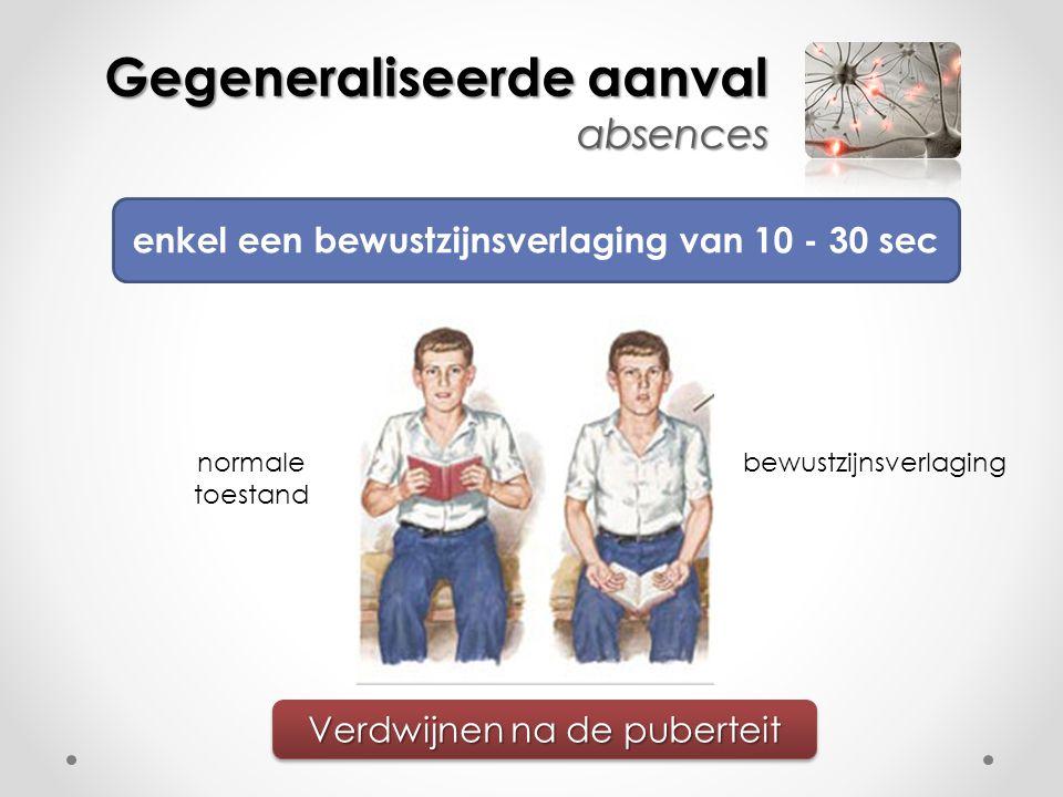 Gegeneraliseerde aanval absences enkel een bewustzijnsverlaging van 10 - 30 sec Verdwijnen na de puberteit normale toestand bewustzijnsverlaging