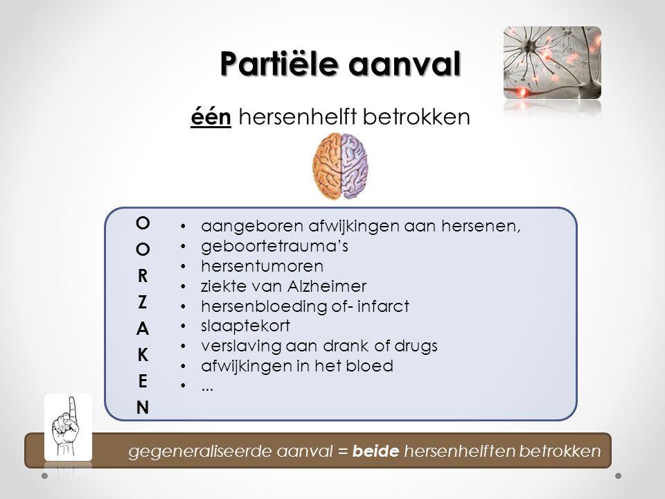 één hersenhelft betrokken Partiële aanval gegeneraliseerde aanval = beide hersenhelften betrokken • aangeboren afwijkingen aan hersenen, • geboortetra