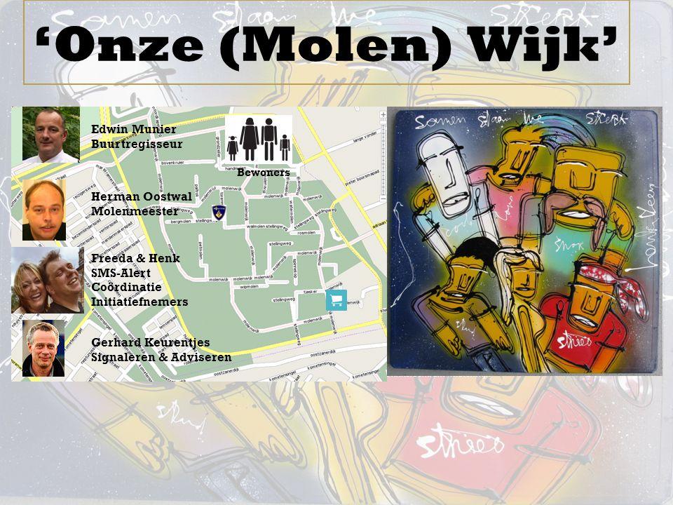 'Onze (Molen) Wijk' Edwin Munier Buurtregisseur Herman Oostwal Molenmeester Freeda & Henk SMS-Alert Coördinatie Initiatiefnemers Winkelcentrum Molenwi