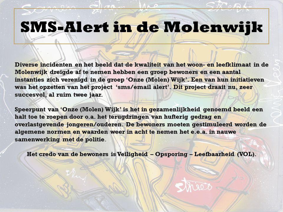 SMS-Alert in de Molenwijk Diverse incidenten en het beeld dat de kwaliteit van het woon- en leefklimaat in de Molenwijk dreigde af te nemen hebben een groep bewoners en een aantal instanties zich verenigd in de groep 'Onze (Molen) Wijk'.
