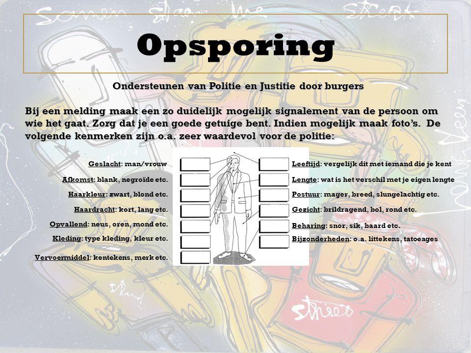 Opsporing Ondersteunen van Politie en Justitie door burgers Bij een melding maak een zo duidelijk mogelijk signalement van de persoon om wie het gaat.